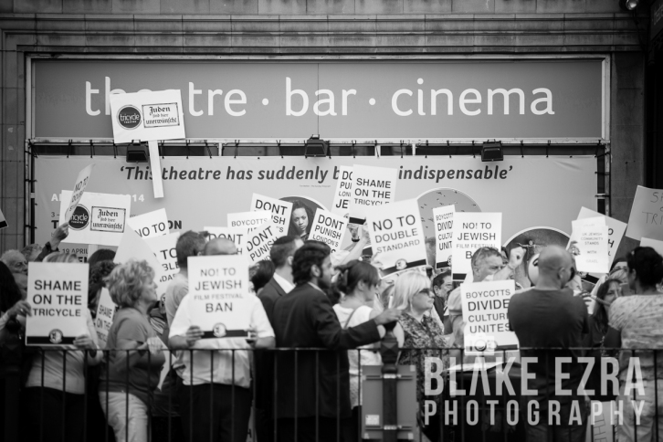 Images from the protest at The Tricycle Theatre.