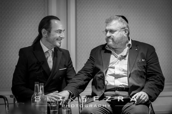 John Galliano with Rabbi Barry Marcus MBE.