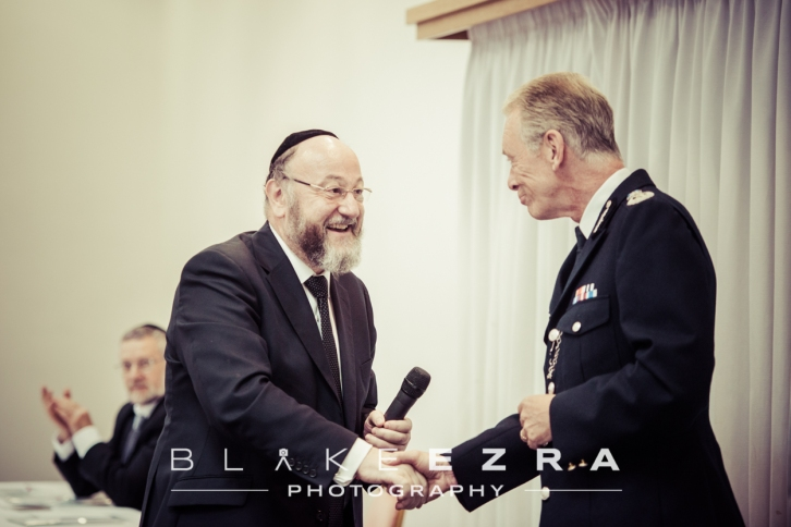 Chief Rabbi of the UK, Ephraim Mirvis, with Metropolitan Police Commissioner, Sir Bernard Hogan-Howe.